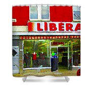 Magazin Liberal Dress Shop On Rue Notre Dame Montreal St.henri City Scenes Carole Spandau Shower Curtain