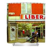 Magazin Liberal Notre Dame Ouest Dress Shop Strolling  St. Henri  Street Scenes Carole Spandau Shower Curtain