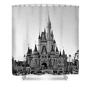 Magic Kingdom Castle In Black And White Shower Curtain