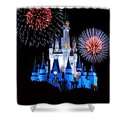 Magic Kingdom Castle In Blue With Fireworks Shower Curtain