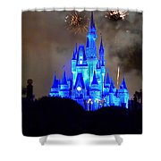 Magic Kingdom Castle In Deep Blue With Fireworks Shower Curtain
