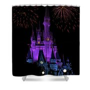 Magic Kingdom Castle In Purple With Fireworks 01 Shower Curtain