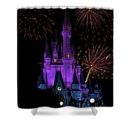 Magic Kingdom Castle In Purple With Fireworks 02 Shower Curtain