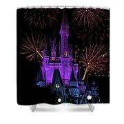 Magic Kingdom Castle In Purple With Fireworks 03 Shower Curtain