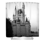 Magic Kingdom Castle Side View In Black And White Shower Curtain