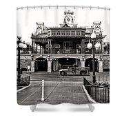 Magic Kingdom Train Station In Black And White Walt Disney World Shower Curtain
