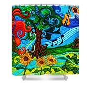 Magical Earth II Shower Curtain by Genevieve Esson