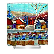 Magical Pond Hockey Memories Hockey Art Snow Falling Winter Fun Country Hockey Scenes  Spandau Art Shower Curtain