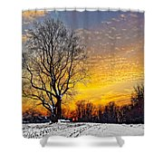 Magical Winter Sunset Shower Curtain