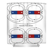 Magnetic Field Lines Shower Curtain