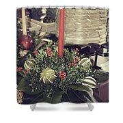 Magnolia Christmas Candle Colonial Williamsburg Shower Curtain