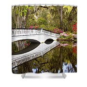 Magnolia Gardens' Bridge Shower Curtain
