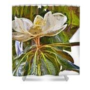 Magnolia White Shower Curtain