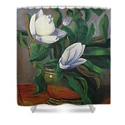 Magnolias On Brass Shower Curtain