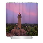 Mahabalipuram Lighthouse India At Sunset Shower Curtain