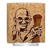 Mahatma Gandhi Coffee Painting Shower Curtain