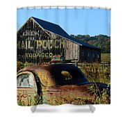 Mail Pouch Barn And Old Cars Shower Curtain