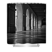 Main Building Arches University Of Texas Bw Shower Curtain