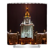 Main Building Of Moscow State University At Winter Evening - 2 Featured 3 Shower Curtain