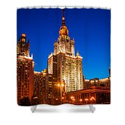 Main Building Of Moscow State University At Winter Evening - 4 Shower Curtain