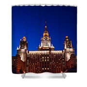 Main Building Of Moscow State University At Winter Evening - 5 Shower Curtain