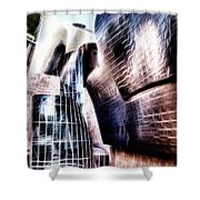 Main Entrance Of Guggenheim Bilbao Museum In The Basque Country Fractal Shower Curtain