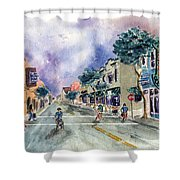 Main Street Half Moon Bay Shower Curtain by Diane Thornton