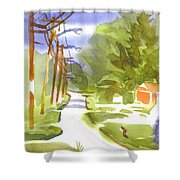 Main Street On A Cloudy Summers Day Shower Curtain