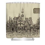Main Street Sleeping Beauty Castle Disneyland Heirloom 03 Shower Curtain