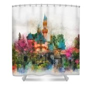 Main Street Sleeping Beauty Castle Disneyland Photo Art 01 Shower Curtain