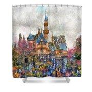 Main Street Sleeping Beauty Castle Disneyland Photo Art 02 Shower Curtain