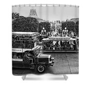 Main Street Transportation Disneyland Bw Shower Curtain