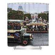 Main Street Transportation Disneyland Shower Curtain