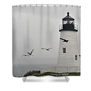 maine 11 Pemaquid Lighthouse Before Storm I Shower Curtain