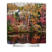 Maine Barn Through The Trees Shower Curtain by Jeff Folger