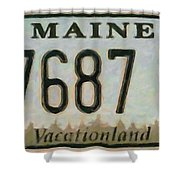 Maine License Plate Shower Curtain