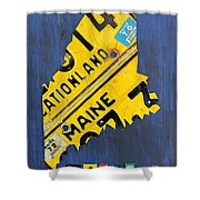 Maine License Plate Map Vintage Vacationland Motto Shower Curtain