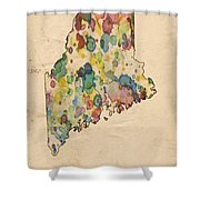 Maine Map Vintage Watercolor Shower Curtain