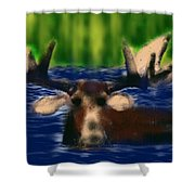 Maine Moose Shower Curtain