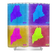 Maine Pop Art Map 2 Shower Curtain by Naxart Studio