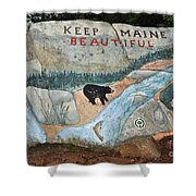 Maine Rock Painting Shower Curtain