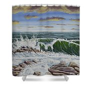 Crashing Waves At Pemaquid Point Maine Shower Curtain