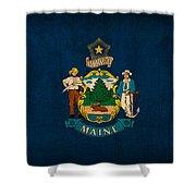 Maine State Flag Art On Worn Canvas Shower Curtain