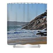 Maine Surfing Scene Shower Curtain