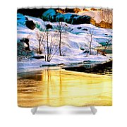 Maine Winter Along The Androscoggin River Shower Curtain