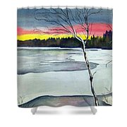 Maine Winter Sunset Shower Curtain