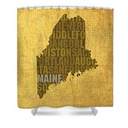 Maine Word Art State Map On Canvas Shower Curtain