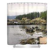 Maine's Beautiful Rocky Shore Shower Curtain
