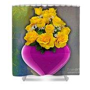 Majenta Heart Vase With Yellow Roses Shower Curtain