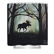 Majestic Bull Moose Shower Curtain by Leslie Allen